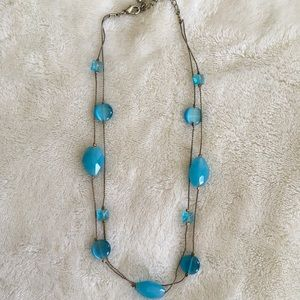 Jewelry - Blue double chain necklace